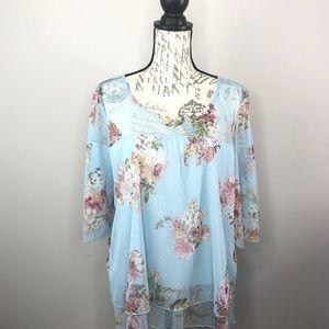 RELATIVITY Lightweight Blue Flower Blouse XL
